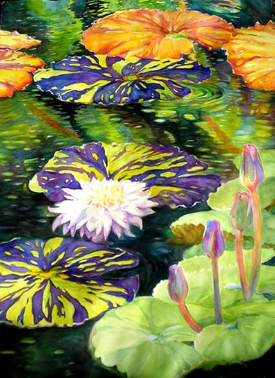 fairchild gardens watercolor  water lillies tropical painting ellengirod ellen girod  interior decorators